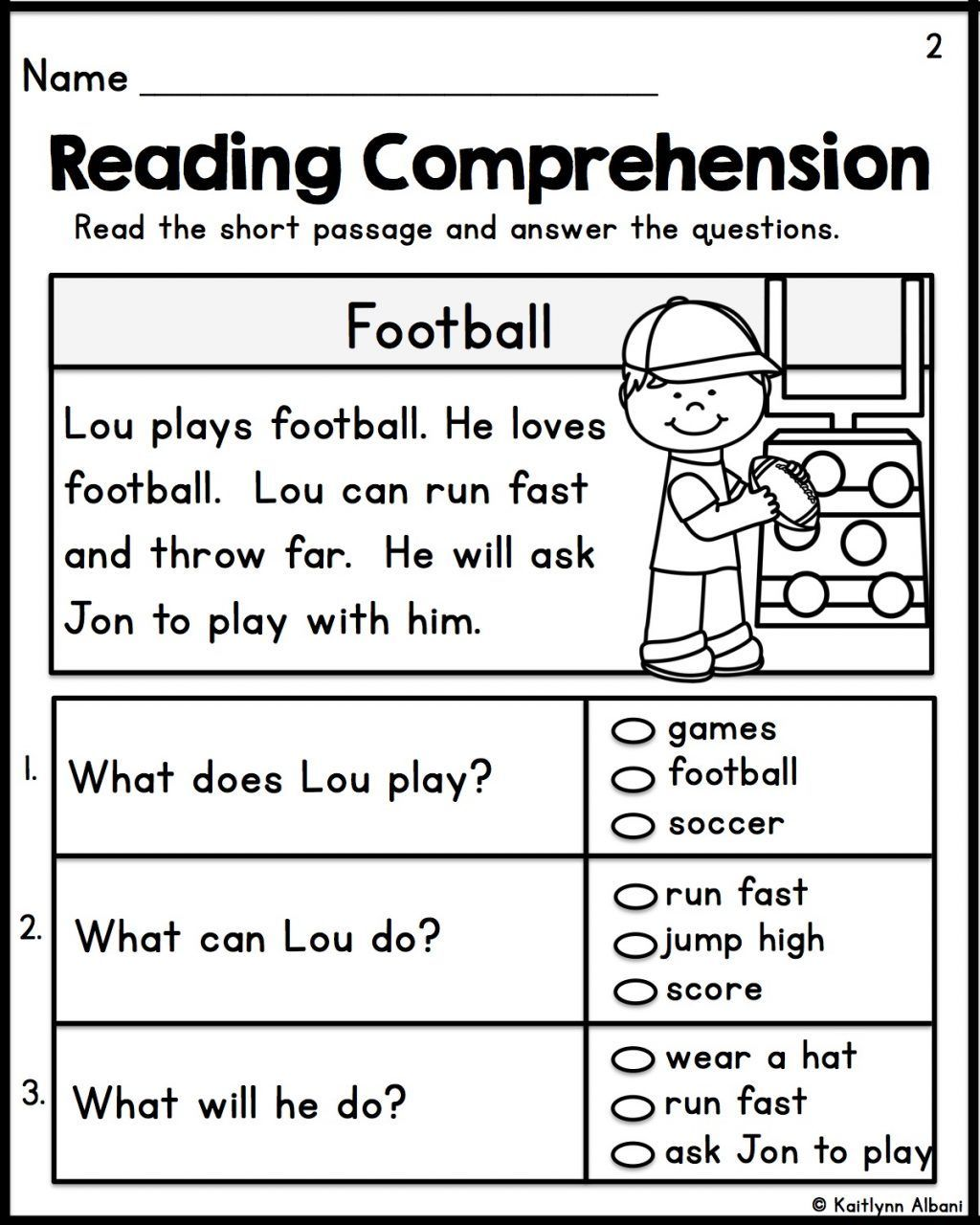 Reading Comprehension Worksheets Simple Reading