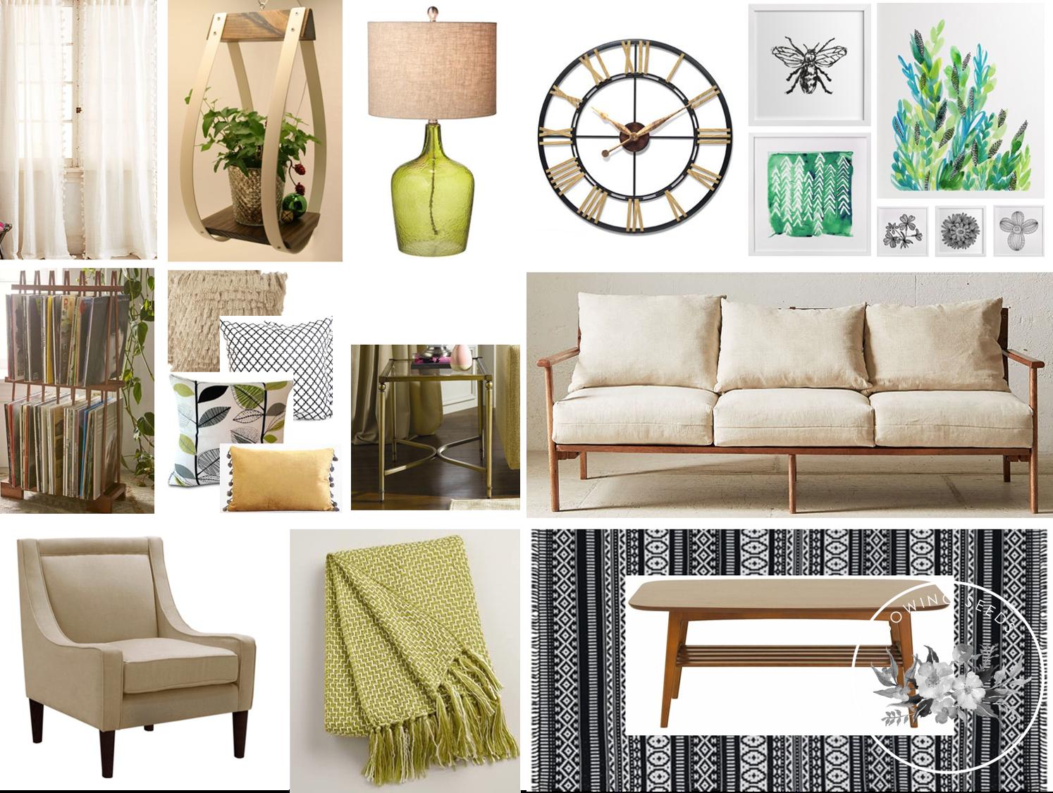 A modern Bohemian (Boho) inspired living room in black, cream, and ...