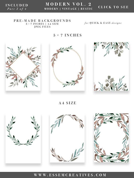 Watercolor Leaf Wreath Clipart Greenery Leaves Wedding Invitation Winter Rustic Vintage Modern Floral Frame Borders