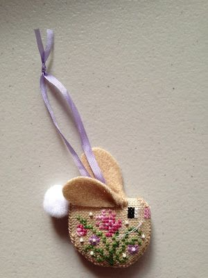 A Stitchers Life....IDEA for a gift, love this. Bunny ears and simple flowers... lovely! xox
