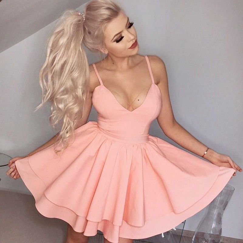 A-Line Spaghetti Straps Short Tiered Pink Satin Homecoming Cocktail ...