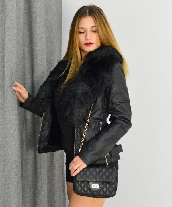Γυναικείο μπουφάν δερματίνη μαύρο με γούνα GF92013  433349f5a00