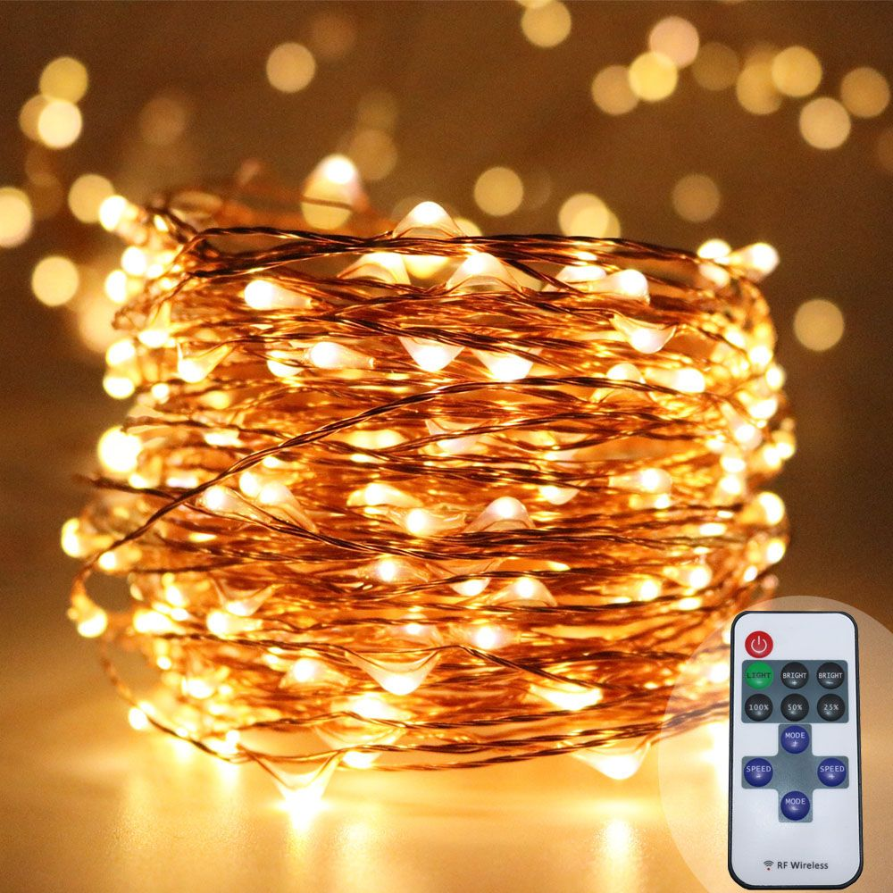 Wedding decorations trees with lights  M warm white copper wire starry fairy string lights dimmable