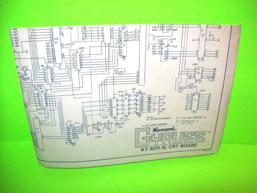 Konami GYRUSS Original 1983 Video Arcade Game Wiring Schematic 2 Sided  Sound/CRT #Konami | Konami, Arcade games, ArcadePinterest