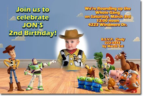 Personalized Toy Story Birthday Invitations Woody birthday parties