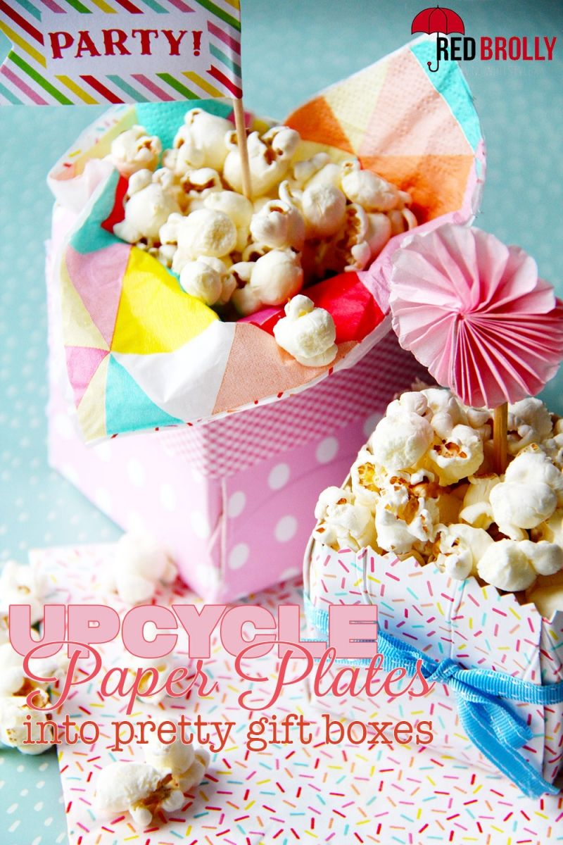 Upcycle paper plates into pretty gift boxes & Upcycle paper plates into pretty gift boxes (Red Brolly)   Upcycle ...