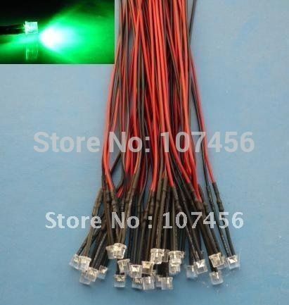 Free Shipping 100pcs Flat Top Green Led Lamp Light Set Pre Wired 5mm 12v Dc Wired Green Led Lamp Light Red Led