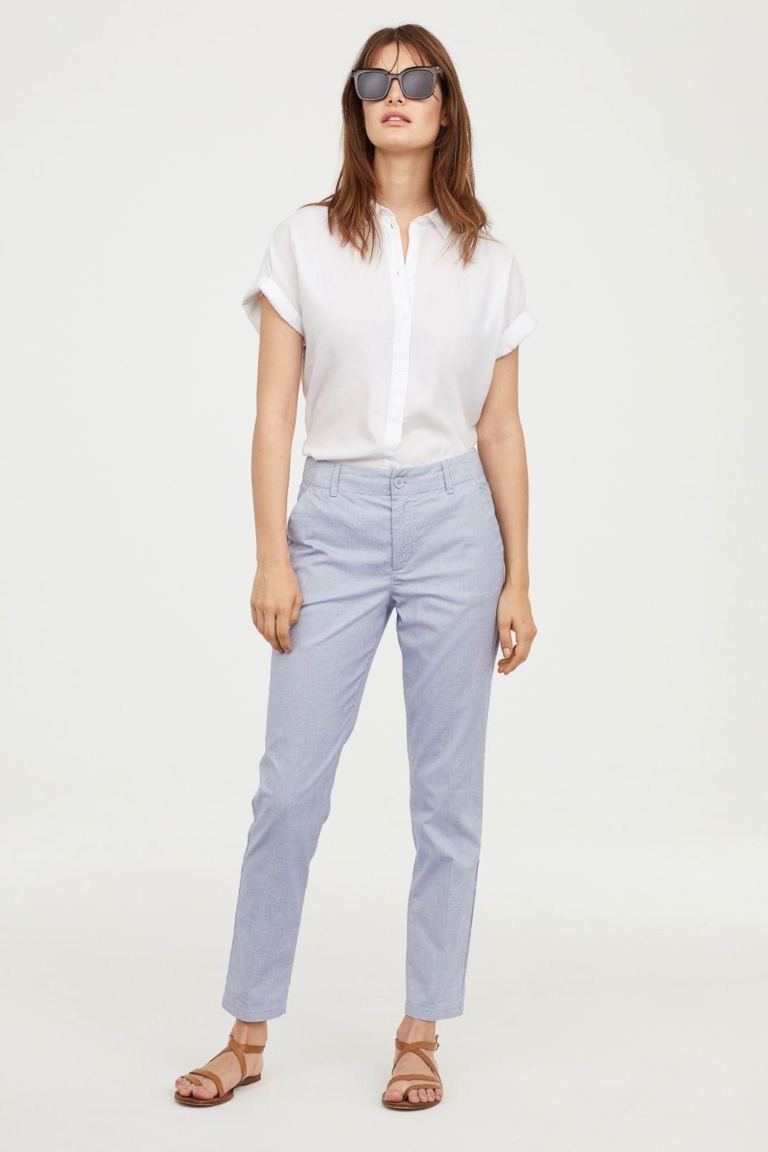 Cotton Chinos Dark Blue Ladies H M Us Chinos Women Outfit Chino Pants Women Khaki Pants Outfit Women