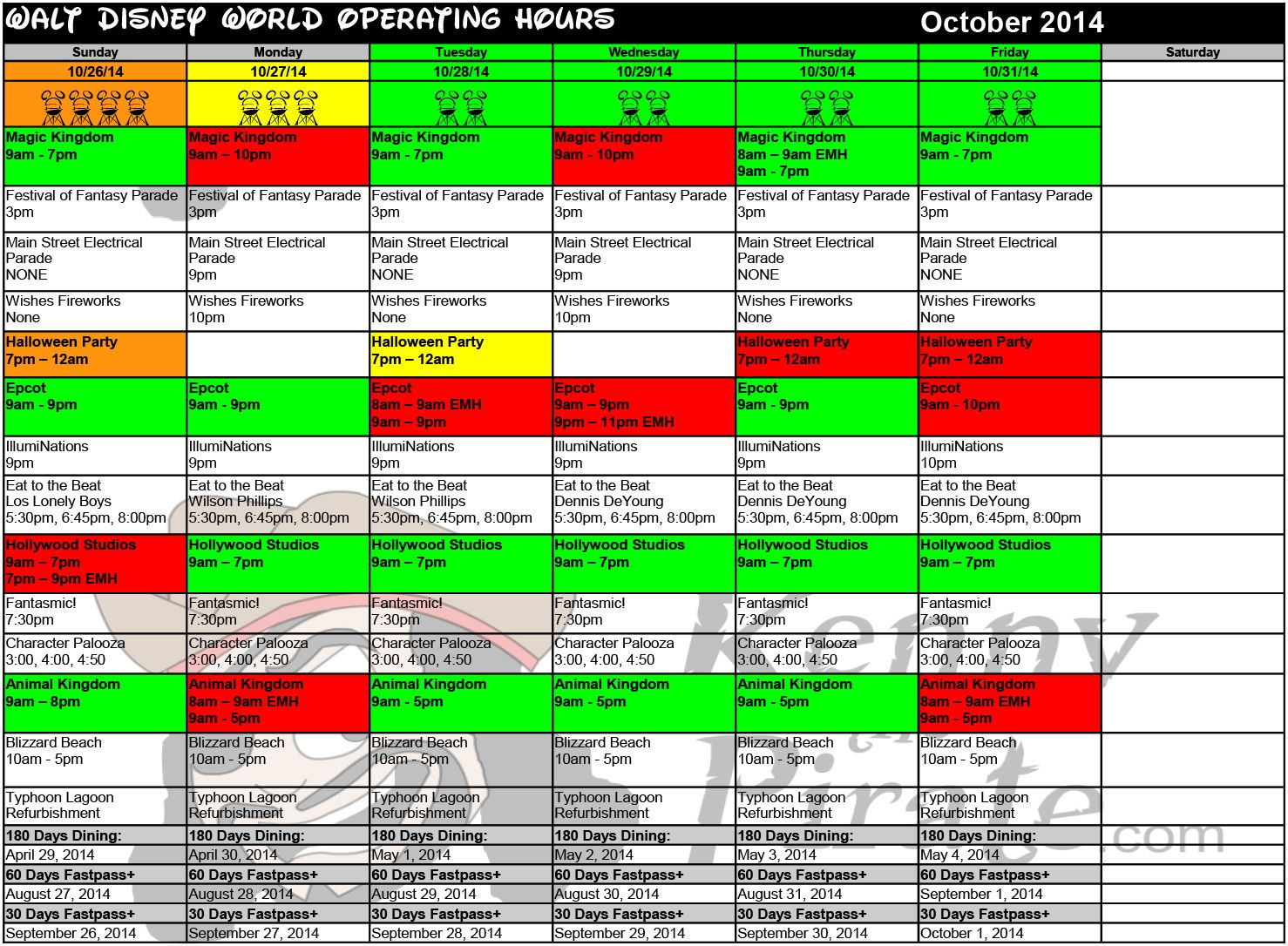 Disney World Crowd Calendar October 2020 l KennythePirate