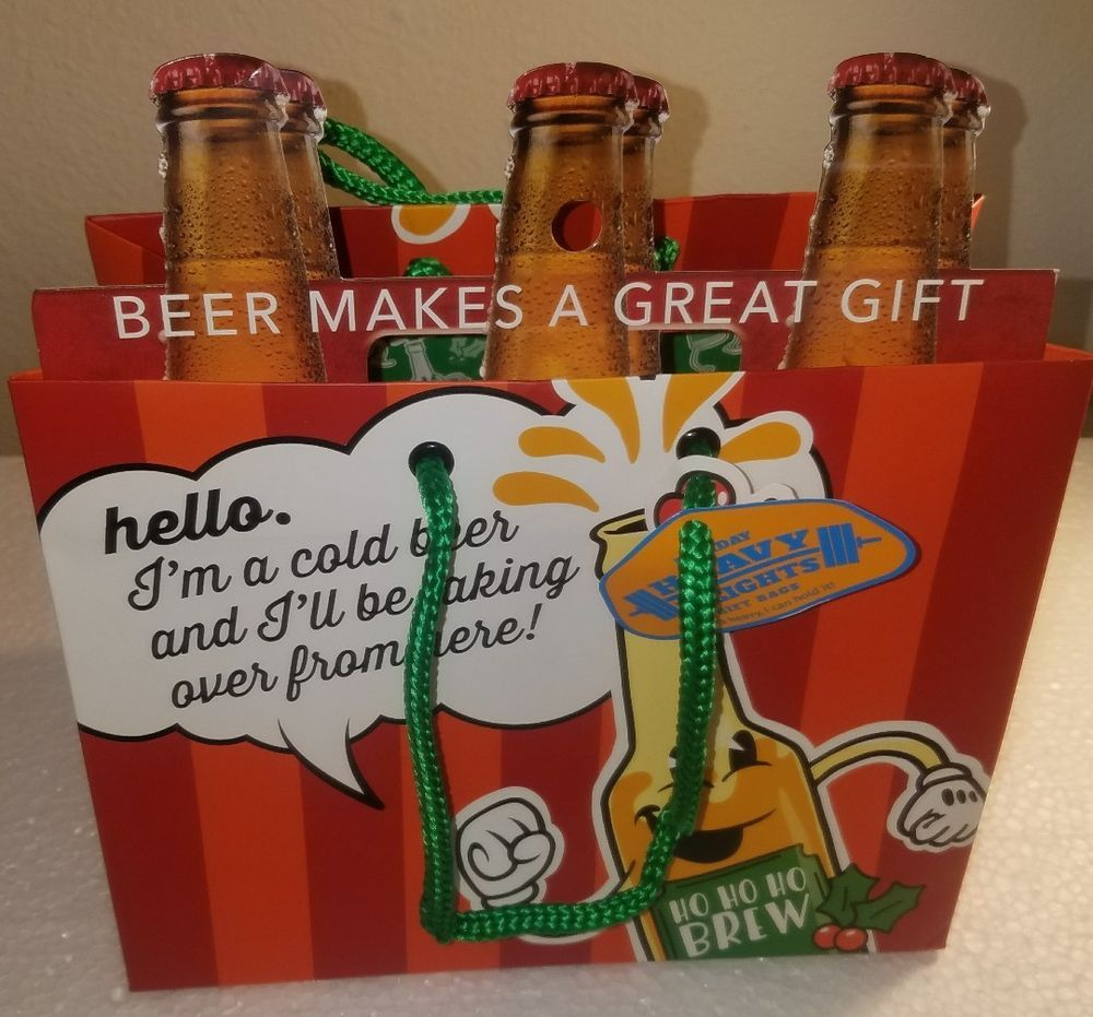 Beer Gift Bag Ho Ho Ho Brew Taking Over Heavy Weights 6-Pack Gift Wrap 9x7x5.5 | eBay