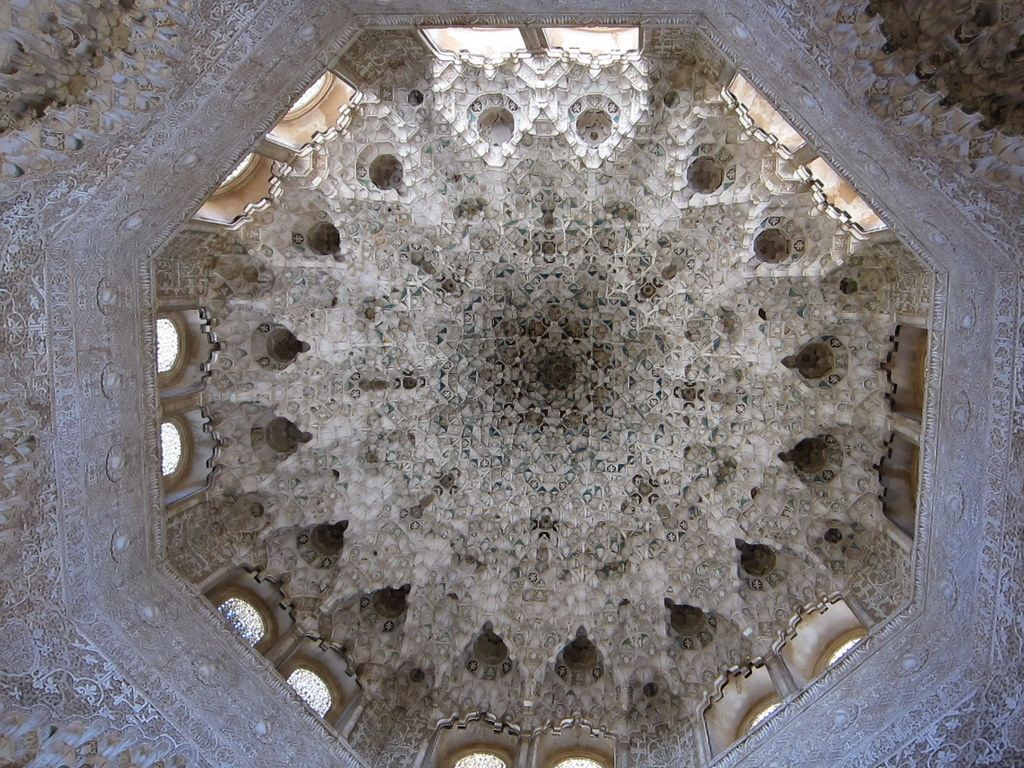 Dome at Alhambra palace in Spain