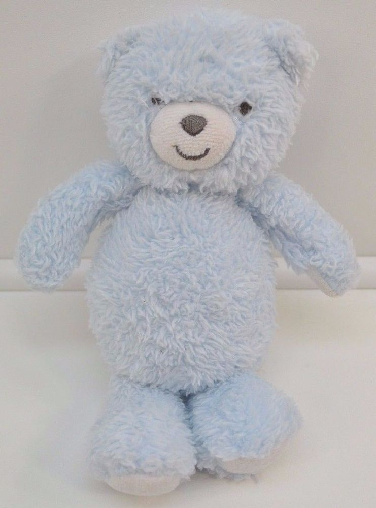 Carters Precious Firsts Blue White Teddy Bear Plush Stuffed Animal Baby Toy…