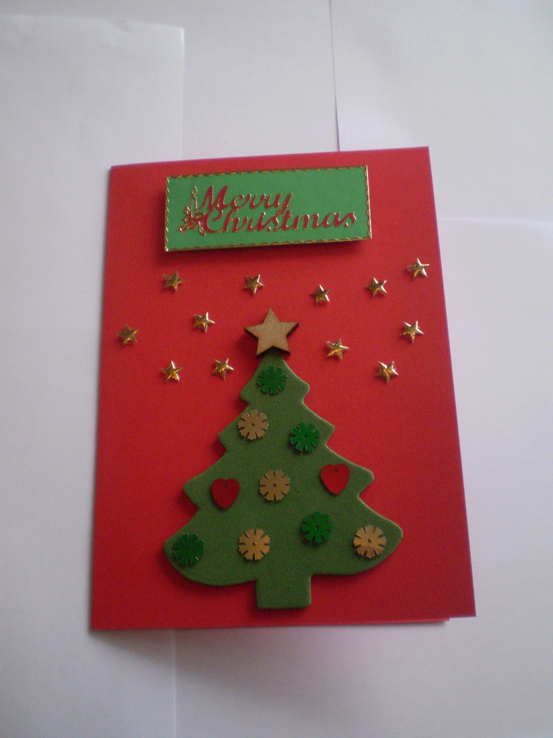 Foam Christmas Tree card with gold stars and sequins - Christmas