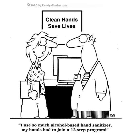 Hospital Hand Sanitizer Smells Weird Nurse Cartoon
