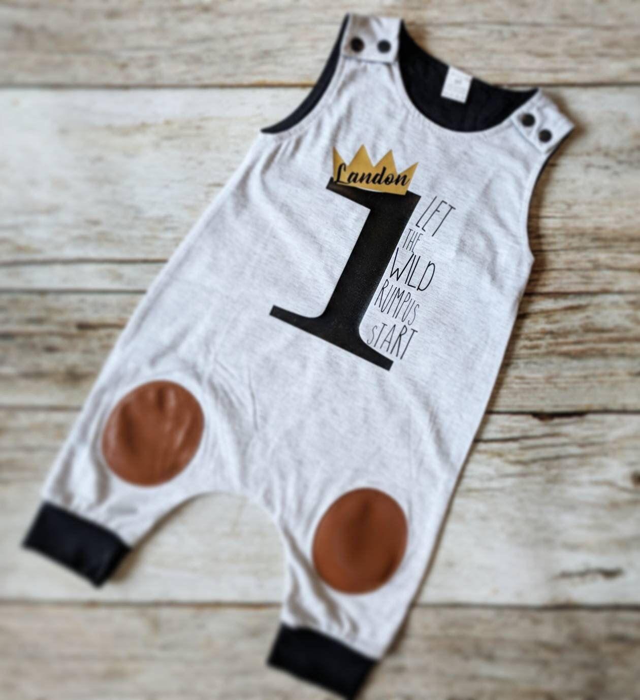 Wild Rumpus Romper. Wild One Romper. 1st Birthday. Baby Boy 1st Birthday. Baby Boy Romper. Baby Fashion. Trendy Baby
