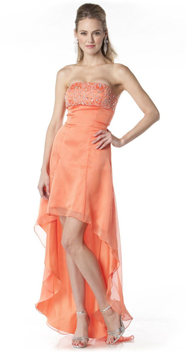 64cd42dcec3d 2 Tone Chiffon Orange High Low Formal Dress Strapless Beaded Top  147.99