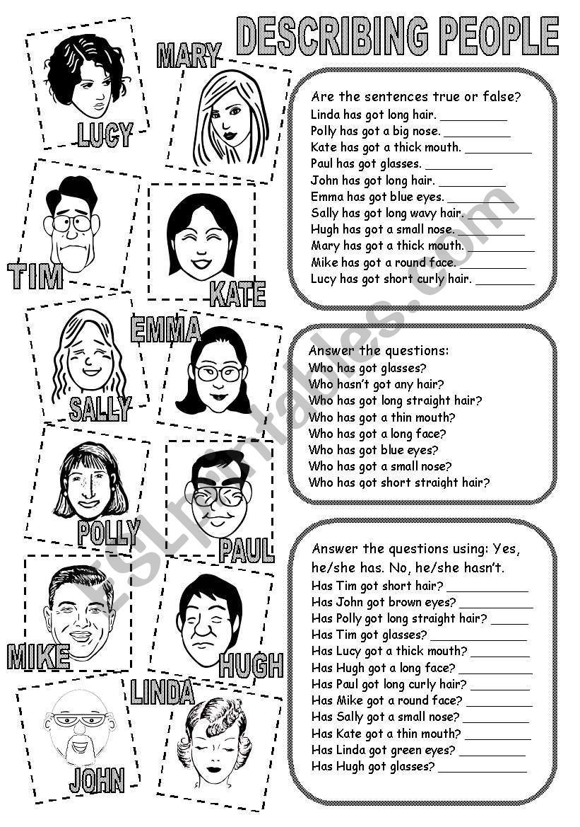 3 Exercises To Practise Describing People And The Verb Have Got English Vocabulary Exercises English Teaching Materials Teaching English [ 1169 x 821 Pixel ]