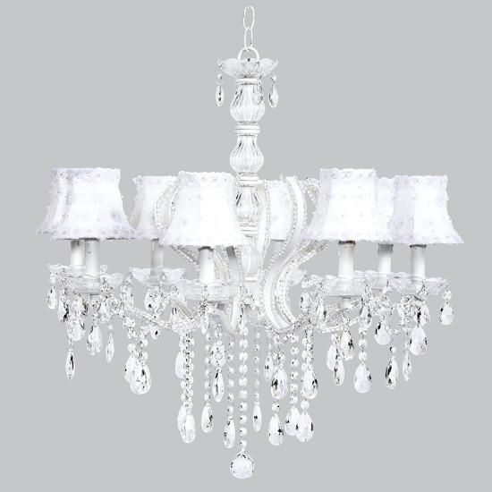 Jubilee Collections | Pageant Eight-Light Chandelier with White Petal Flower Shades