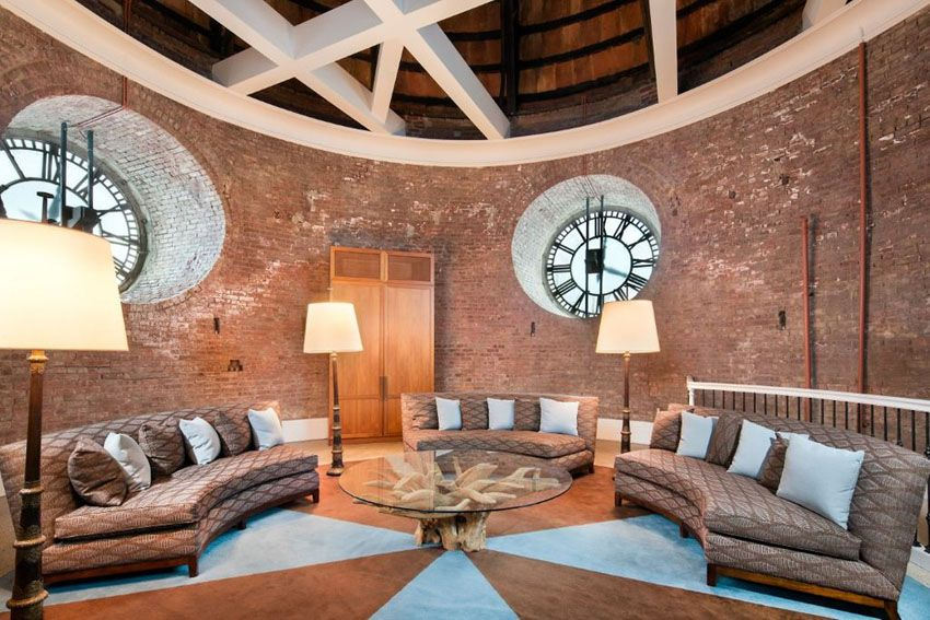 Large circular brick living room with round windows and three curved couches & 43 Beautiful Large Living Room Ideas (Formal \u0026 Casual Designs ...