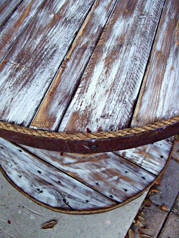 Cable Spool and Old Barrel Table #cablespooltables