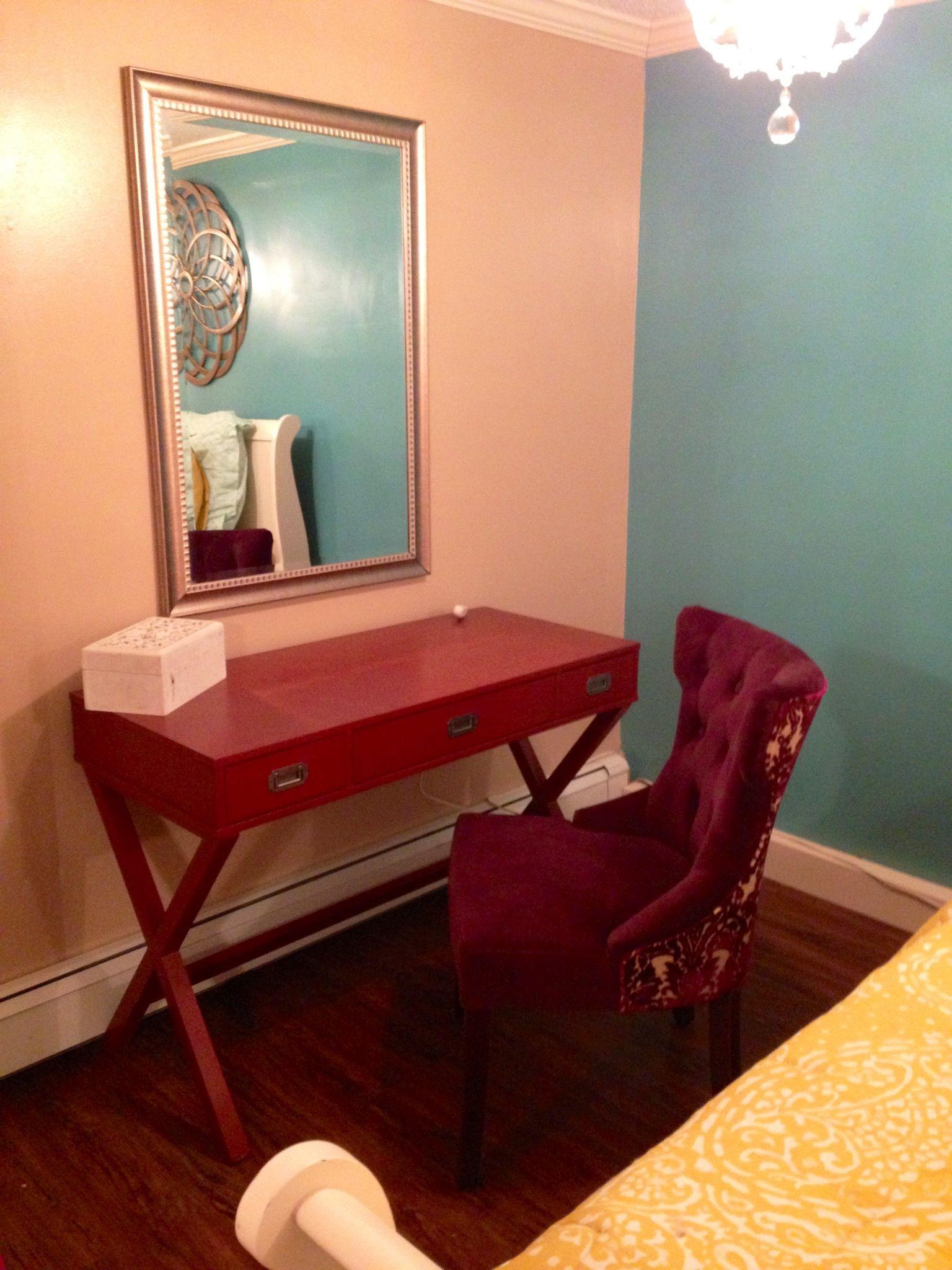 basement bedroom -vanity area desk from Target Chair from ...