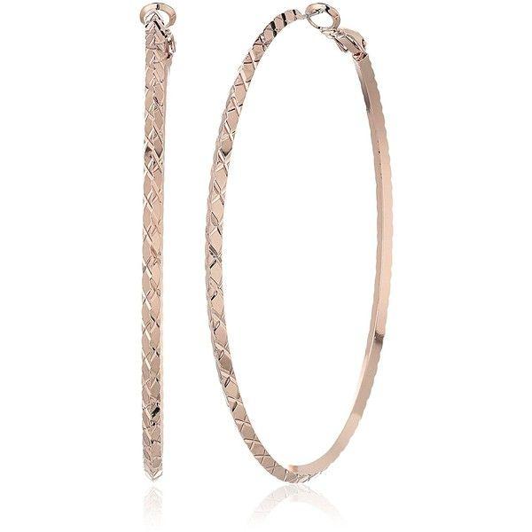 GUESS Basic Rose Gold Large Diamond Cut Hoop Earrings 12