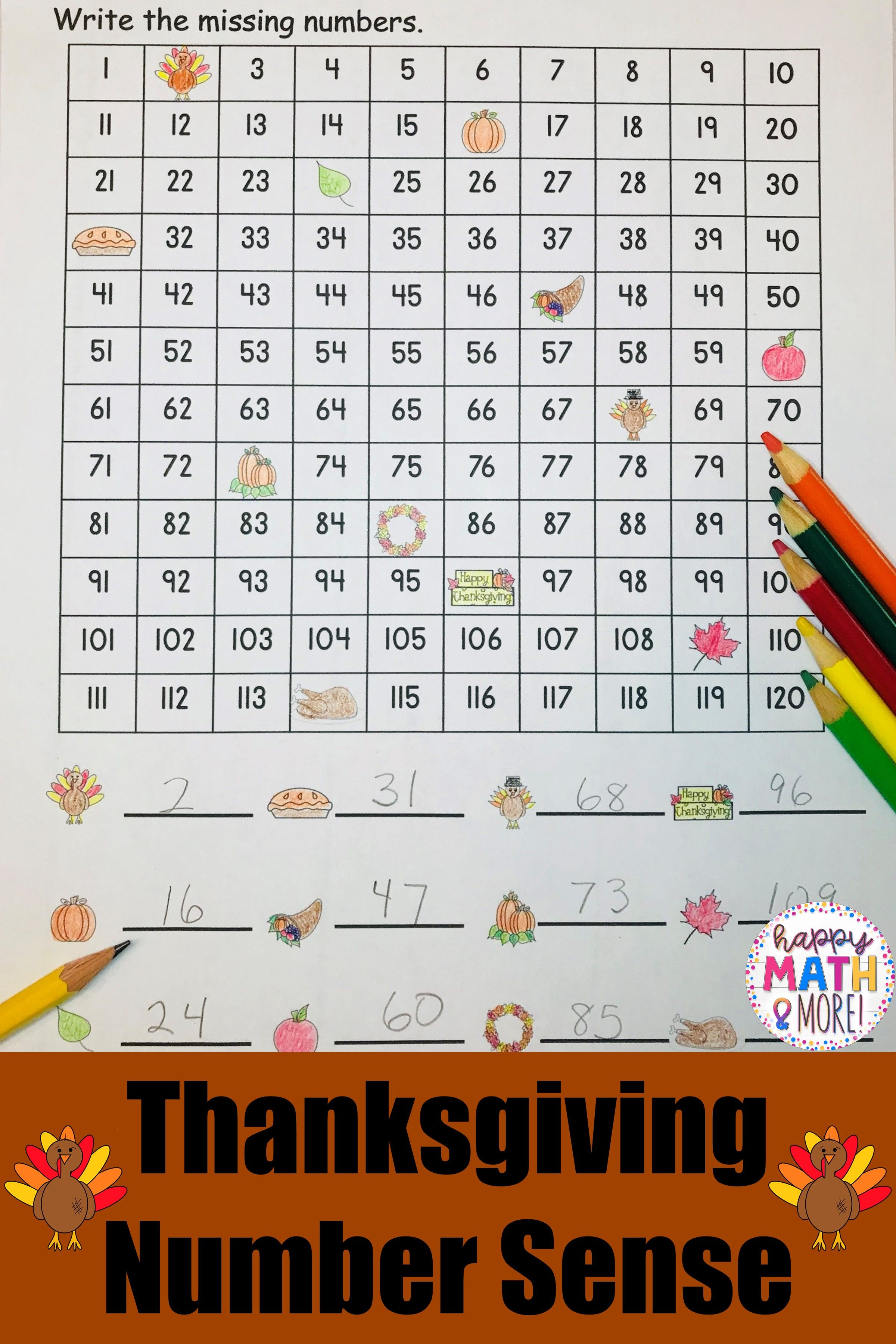 Thanksgiving 120 Charts With Missing Numbers