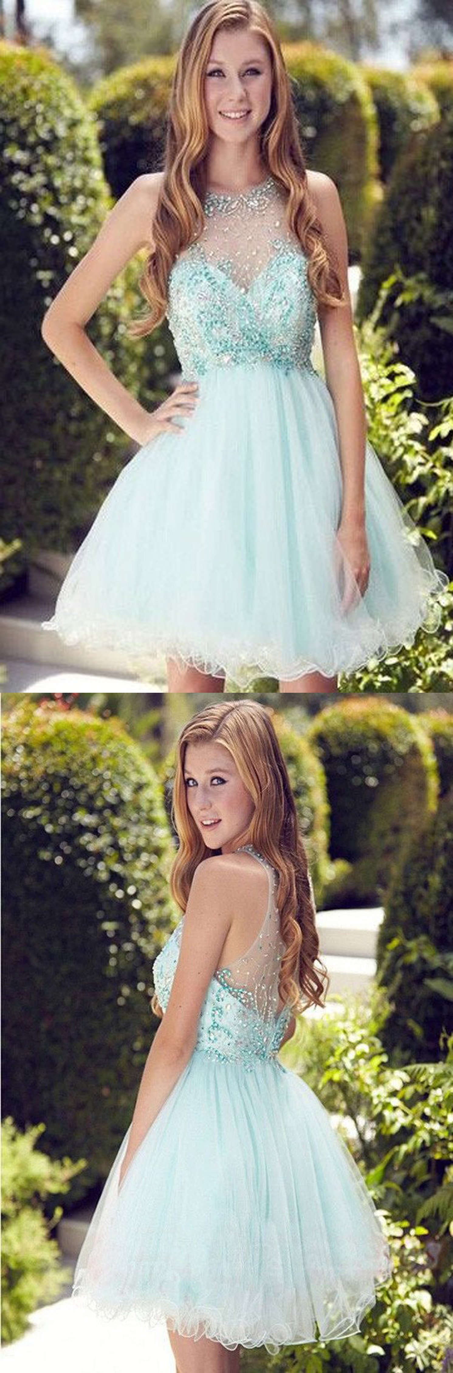 Elegant light blue short prom dresshomecoming dressparty dress for