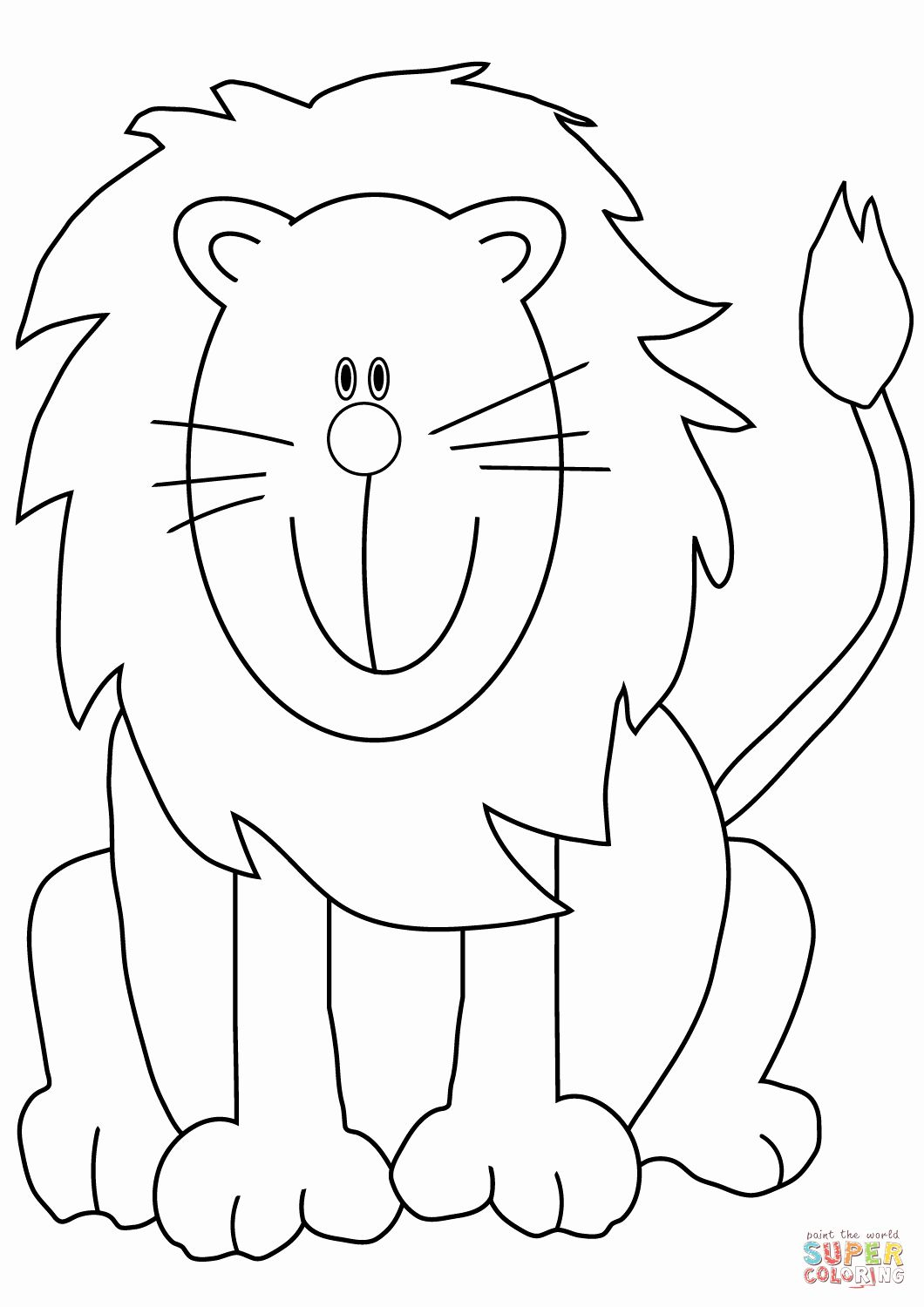 Printable Lion Coloring Pages Awesome Lovely Cartoon Lion