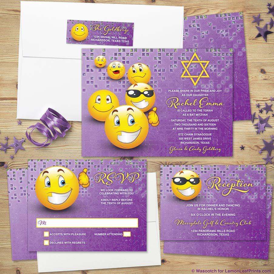 Social media emoji or emoticon Bat Mitzvah invitation set in ...
