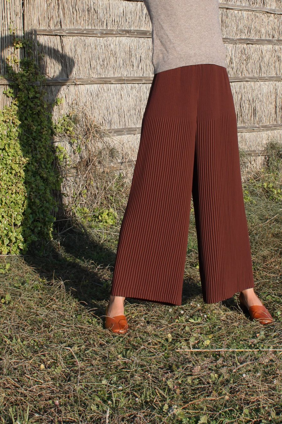 Image of Pleated brown trousers