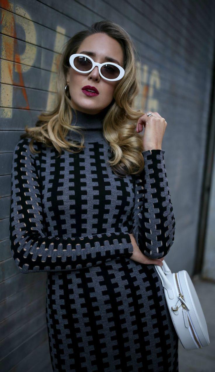 Black and grey geometric turtleneck sweater dress white pointytoe