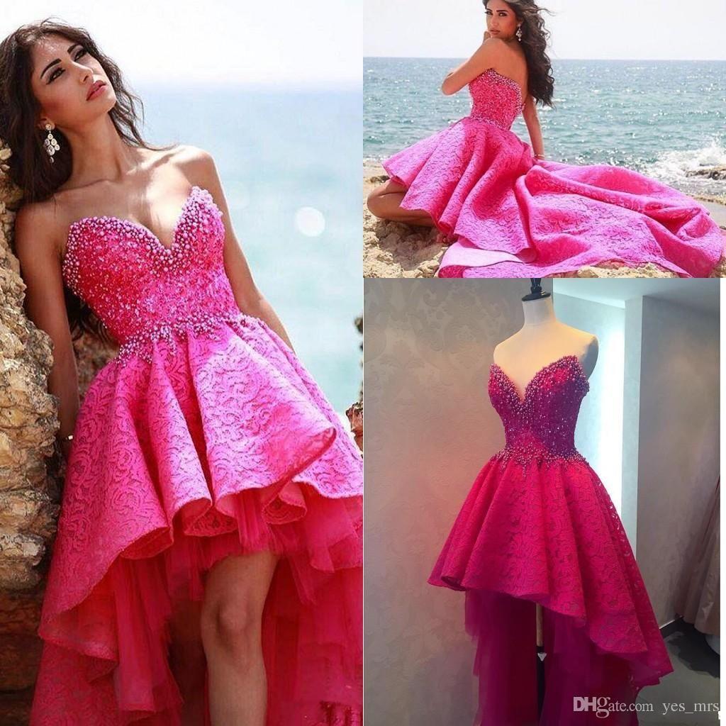 2016 New Short Prom Dresses V Neck Fuchsia Full Lace Crystal Beaded ...