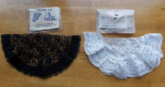 Vintage Lot Of 2 Chapel Church Prayer Caps Lace One Black One White Cases Montreal Quebec Vintage Chapel Lace Caps Lace