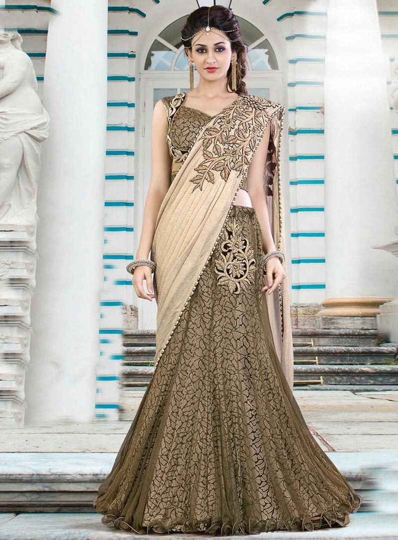 afeab39d5d Buy Beige Net Designer Lehenga Saree 78788 with blouse online at lowest  price from vast collection of sarees at m.indianclothstore.c.