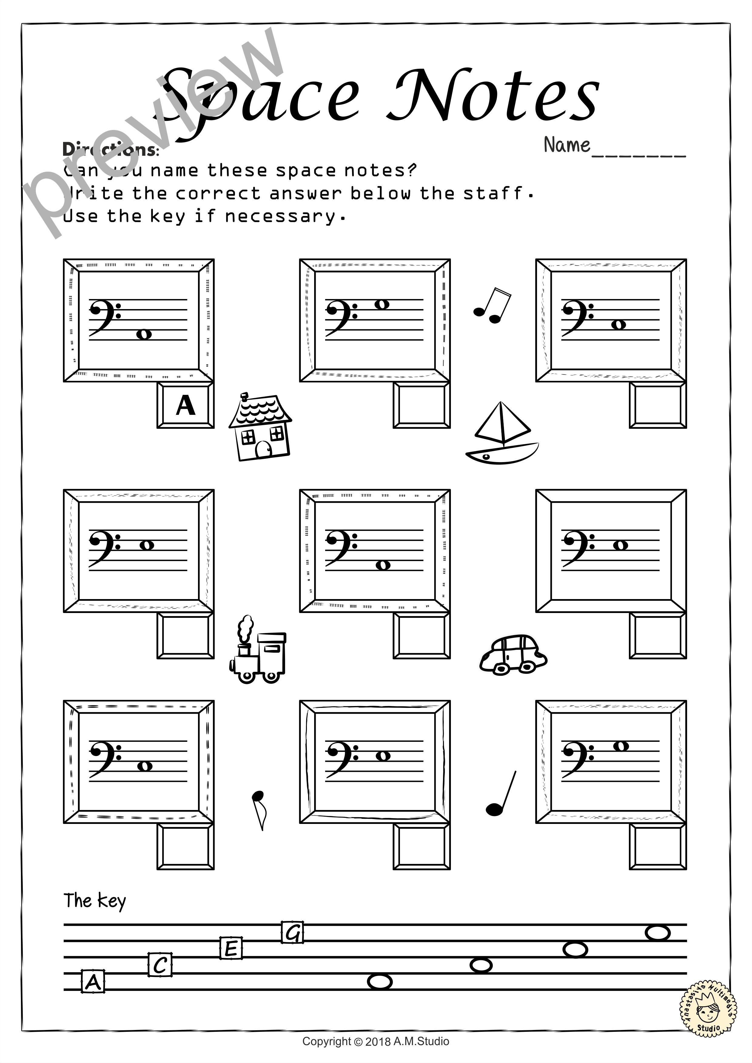 Bass Clef No Prep Worksheets