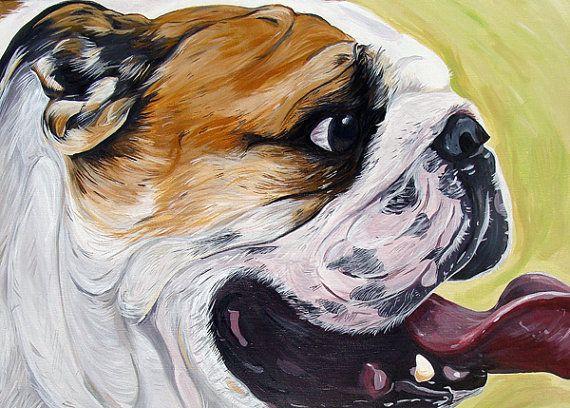 ENGLISH BULLDOG Dog Art Print bright colors yellow green 8x10 on Etsy, $12.00