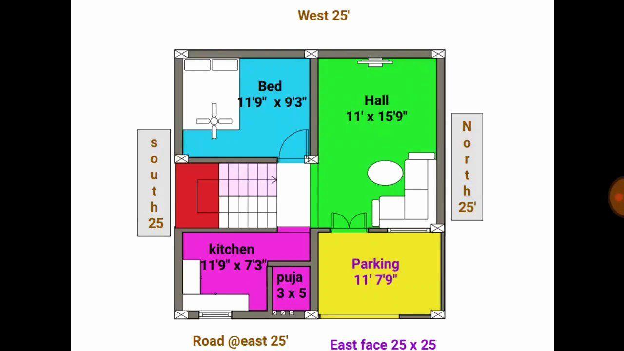25 X 25 House Plans Unique 1bhk 24 25 East Face Duplex House Plan Map Duplex House Plans Unique Floor Plans House Plans