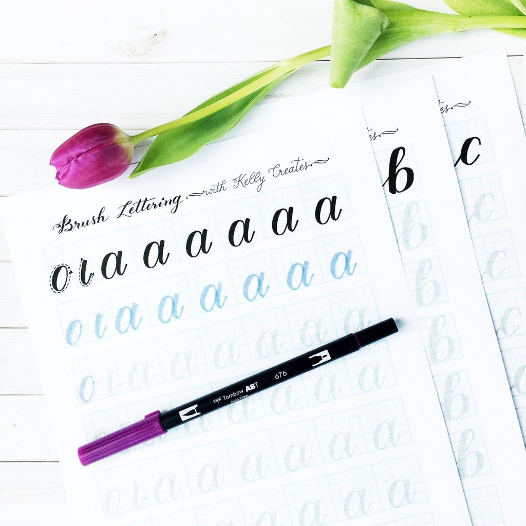 Brush lettering practice sheets from Kelly Klapstein of Kelly Creates