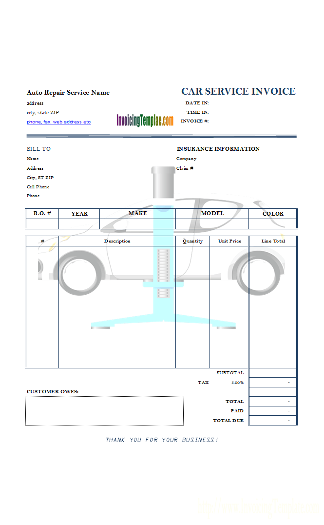 Auto Repair Service Invoice With Car Lift Background Image  Apple