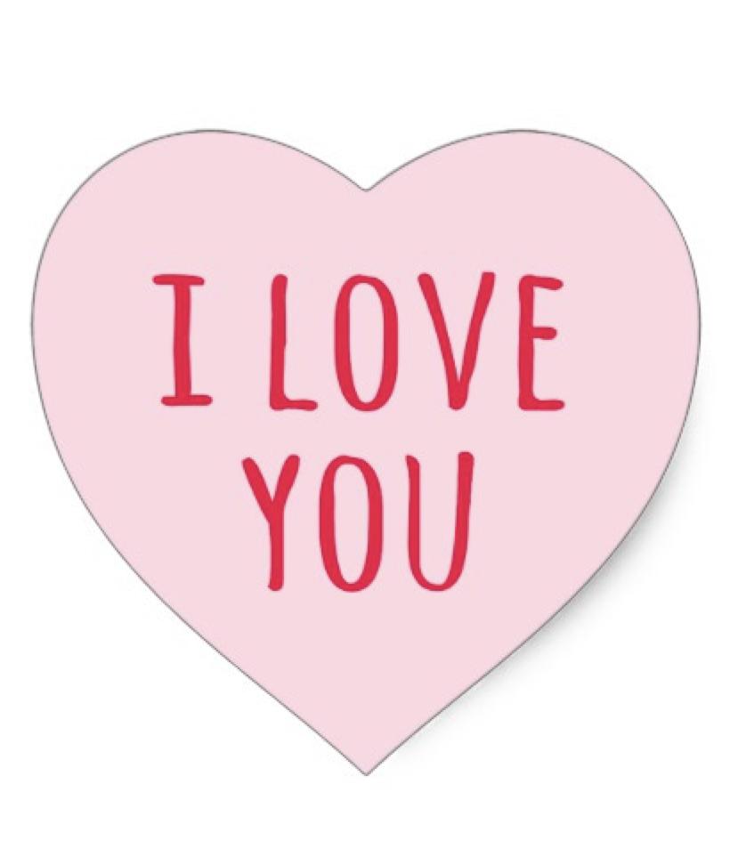 I Love You Valentine S Day Pink Heart Heart Sticker Zazzle Com