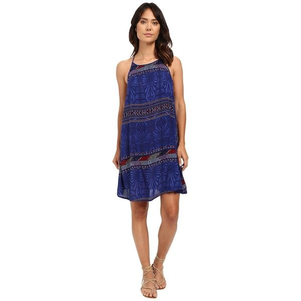 Roxy Sand Roast Dress (Into the Flow Combo/Dazzling Blue) Women's... ($37) ❤ liked on Polyvore featuring dresses, blue dress, loose dresses, blue knee length dress, high neck dress and roxy dresses