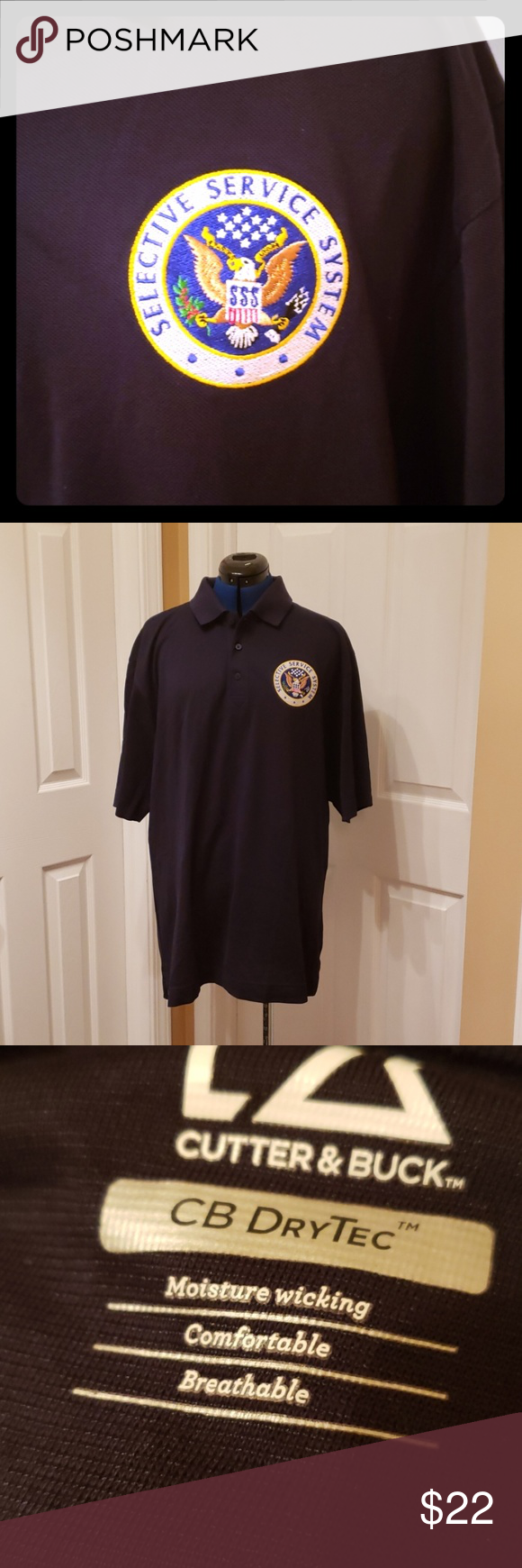 Men's XL Selective Service Logo Polo Shirt Nice black