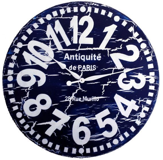 Large Wall Clock 30 Inch Navy Blue Murillo Paris Heavy Crackle Navy Blue White Tuscan Antique Style Big Numbers Rustic Distres Relojes De Pared Reloj Pared