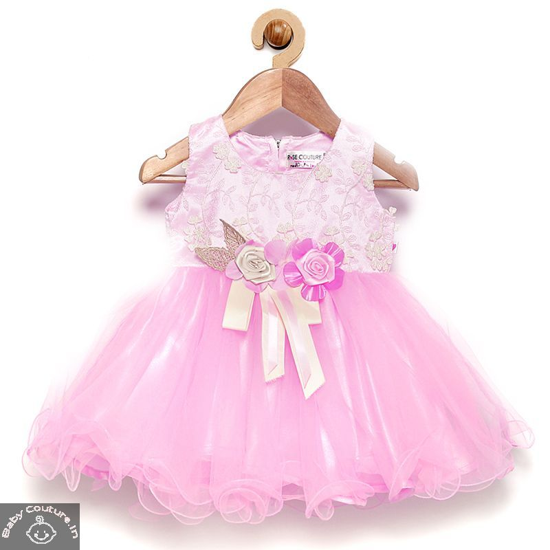 Rose Couture Vibrant Classy Kids Party Dress With Headband Baby