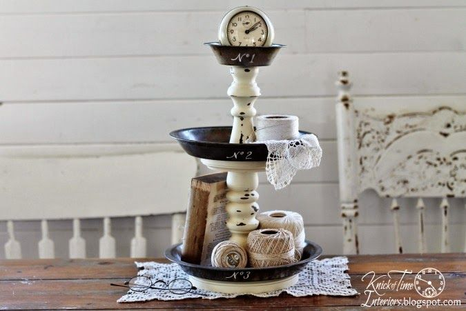 Repurposed Bowls and Tins Into Tiered Stands