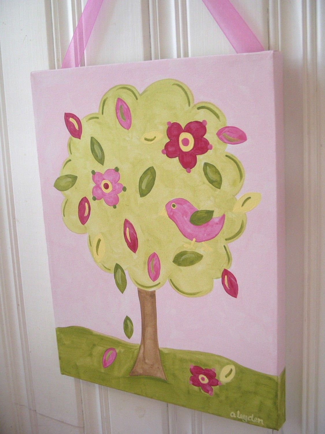 Flower tree bird canvas painting 11 x 14 Original hand painted Girl ...
