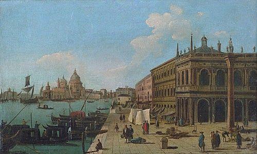 Ein Paar venezianische Veduten: Die Piazza San Marco / Blick von der Piazzetta auf den Canale Grande und Santa Maria della Salute. <br> Öl auf Leinwand. Je 27 x 44 cm. <br>  <br> Der im Friaul geborene Maler und Zeichner Giuseppe Bernardino Bison begibt sich nach anfänglichen Studien in Brescia als 15-jähriger im Jahr 1777 nach Venedig, wo er die Bekanntschaft von Antonio Maria Zanetti macht. Ab 1779 studiert er an der Accademia Malerei und Dekoration bei Constantino Cedini und Perspektive…