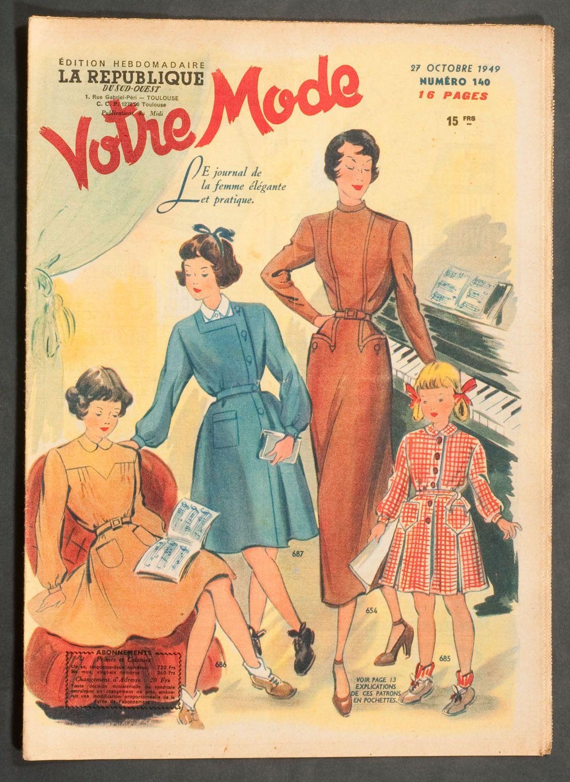 'VOTRE MODE' FRENCH VINTAGE NEWSPAPER 27 OCTOBER 1949 | eBay