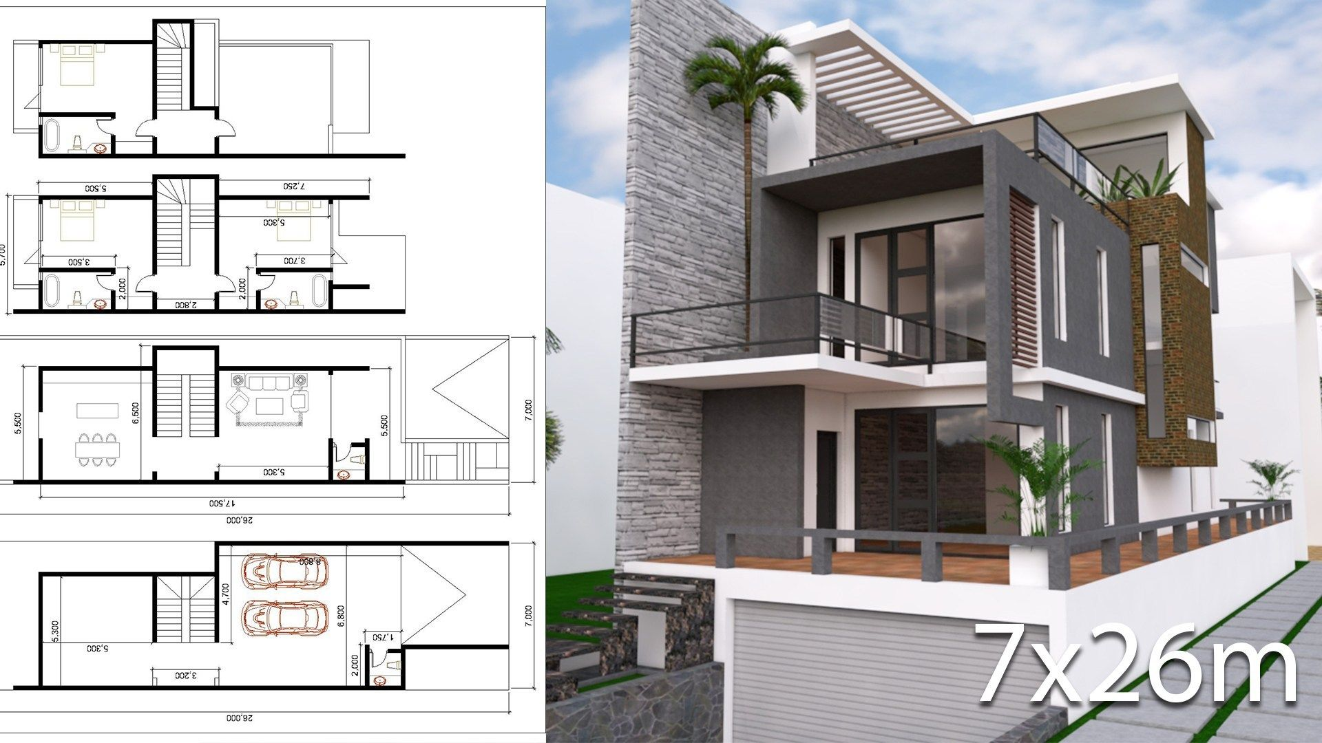 Modern House Plans With Land Size 7mx26m Samphoas Plan Modern House Plans House Plans House Design